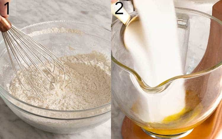 Two photos showing dry ingredients getting whisked and sugar poured into a mixer