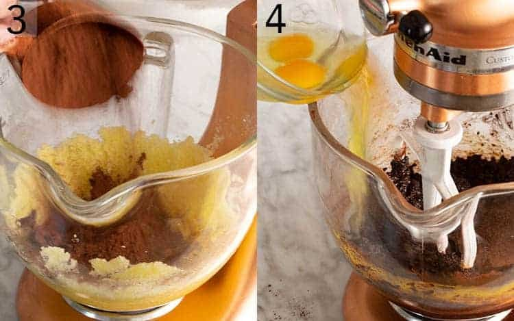 Two photos showing cocoa powder going into a mixer and eggs beaten into the batter