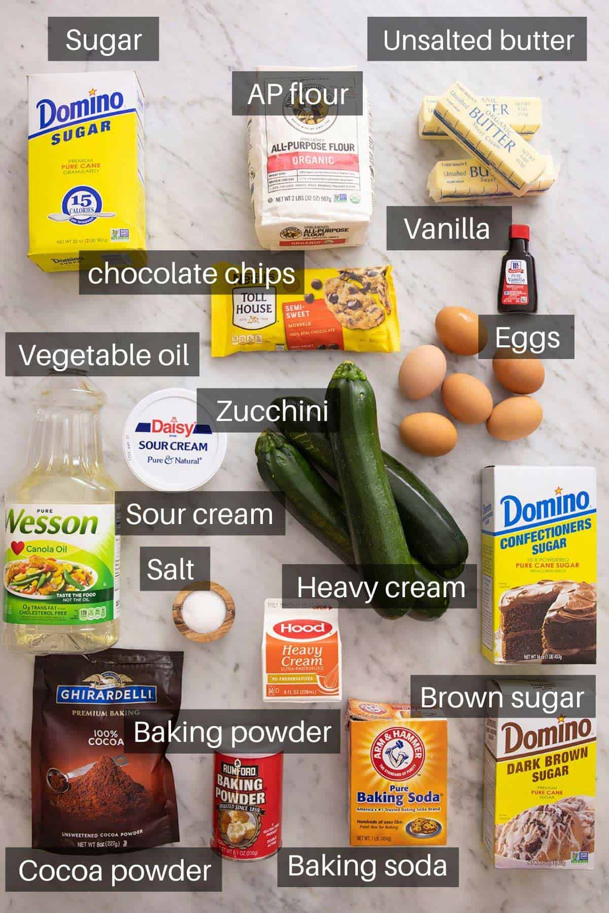 An overhead shot of all the ingredients you need to make chocolate zucchini cake