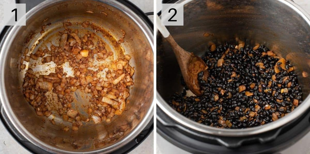 Two photos showing how to prepare black beans in the instant pot