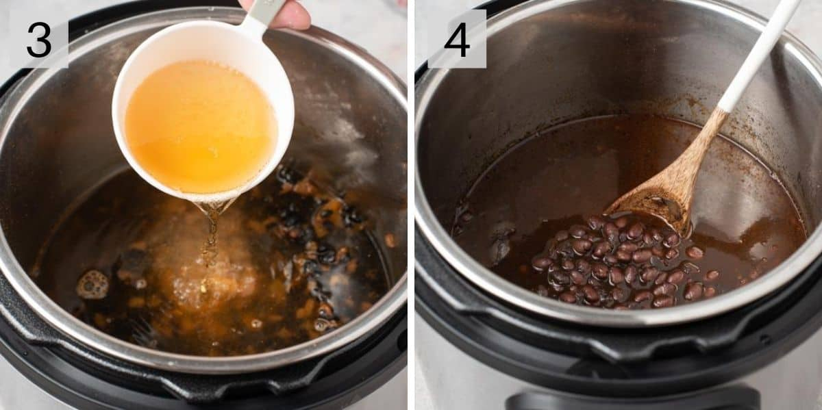 Two photos showing how to make Instant Pot Black Beans