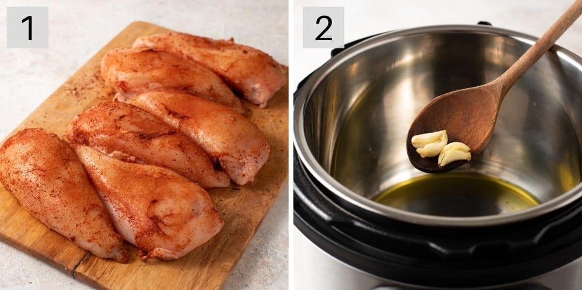 Two photos showing how to prepare chicken to cook in the instant pot