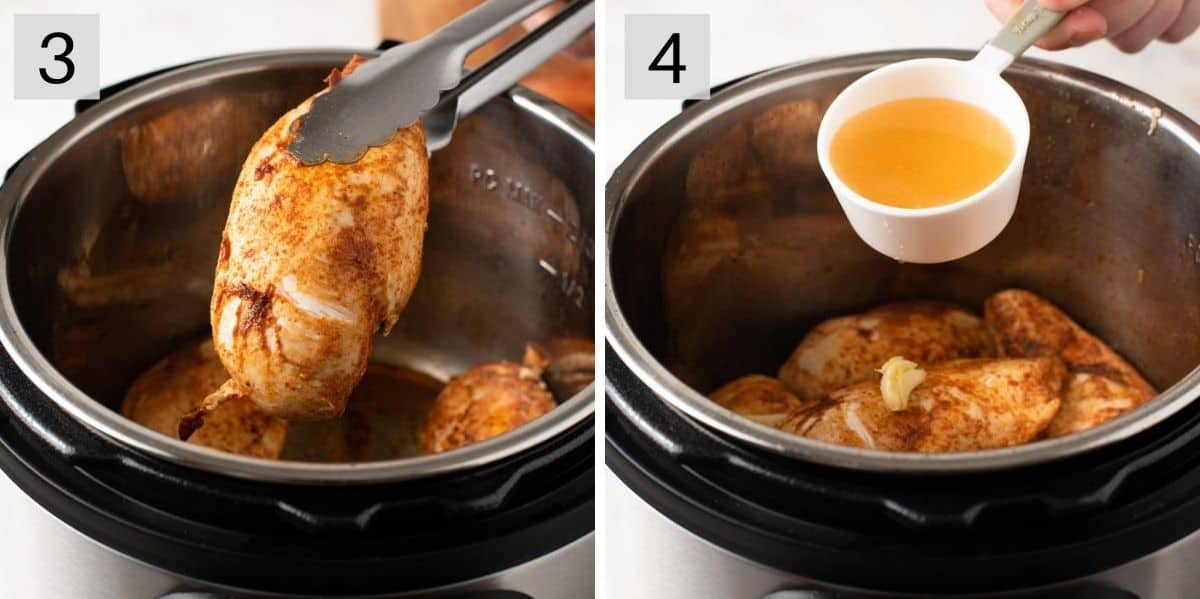 Two photos showing how to prepare instant pot chicken tacos