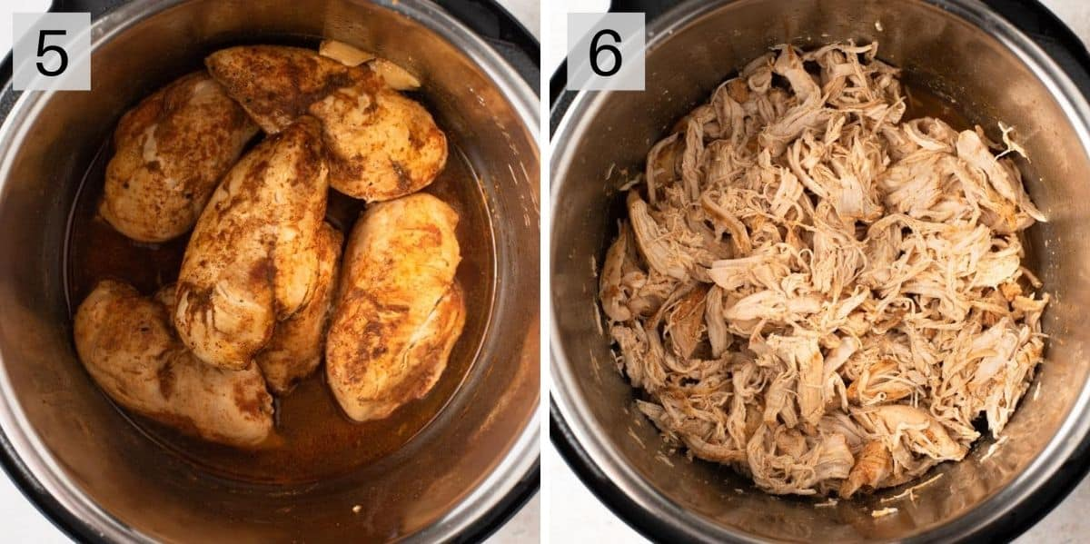 Two photos showing cooked and shredded chicken in an instant pot