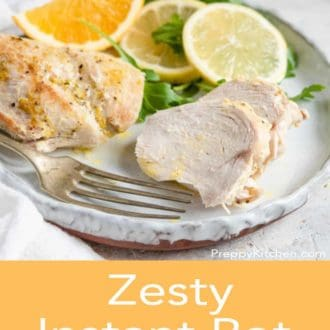 instant pot chicken breast on a plate with fork