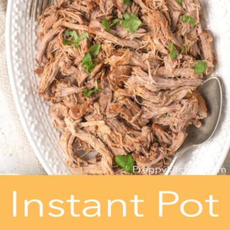 A pinterest graphic of Instant pot pulled pork