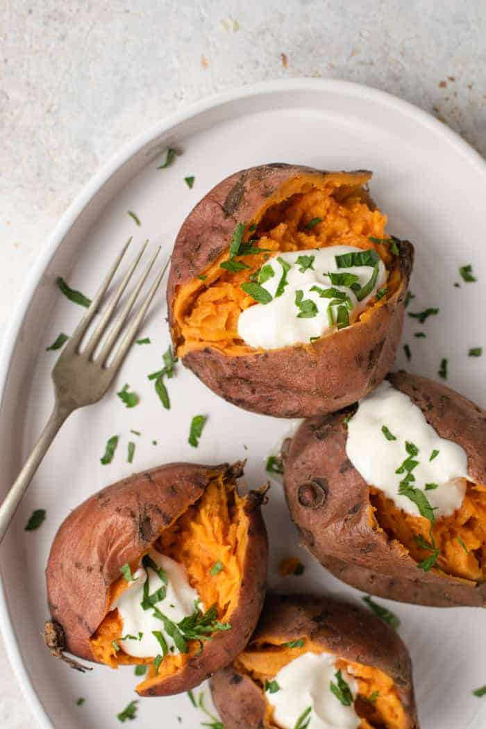 An overhead shot of instant pot sweet potatoes