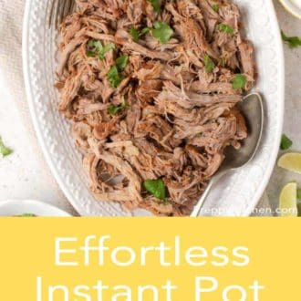 instant pot pulled pork in a white serving dish