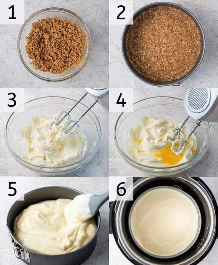 Step by step photos for making instant pot cheesecake