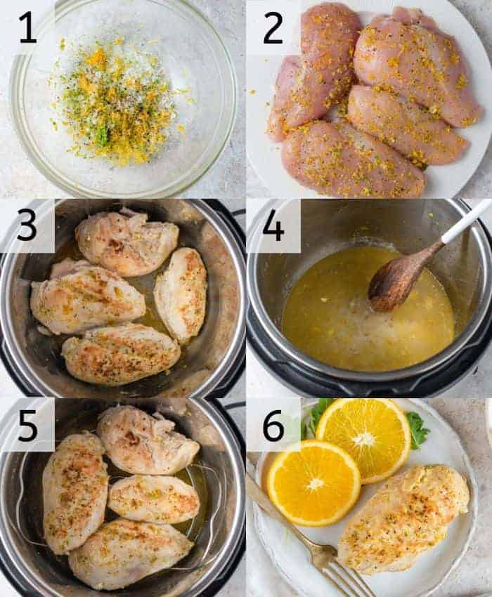 Step by step photos for making instant pot chicken breasts