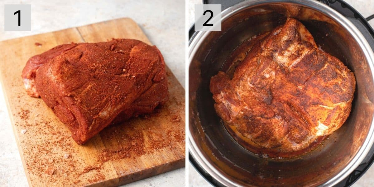 Two photos showing how to season and sear pork to make pulled pork
