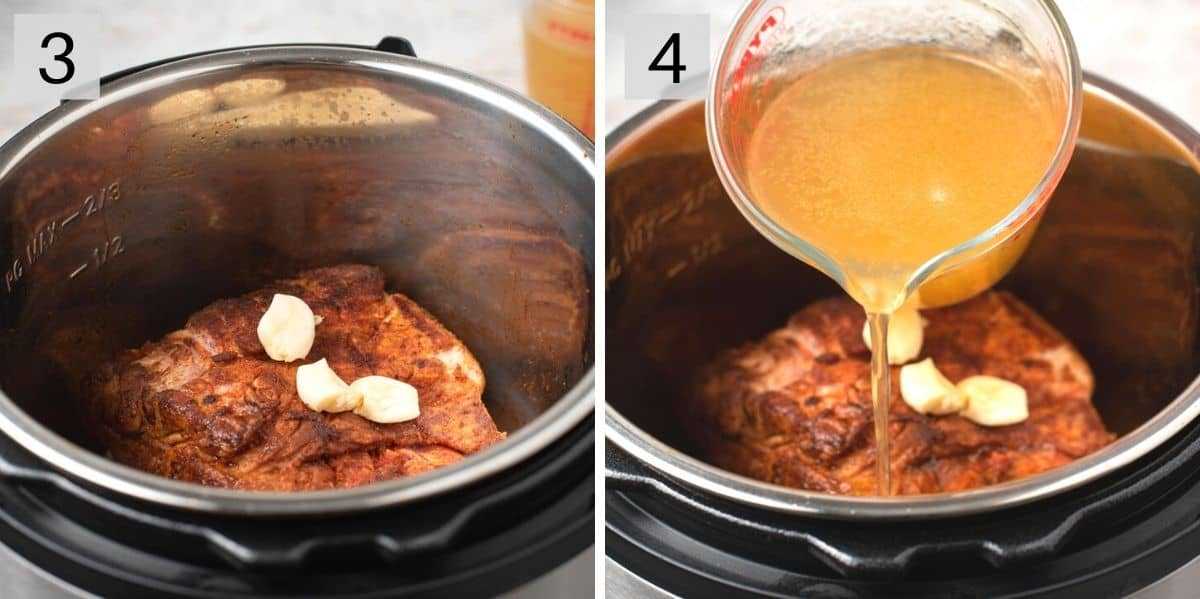 Two photos showing how to make pulled pork in an instant pot