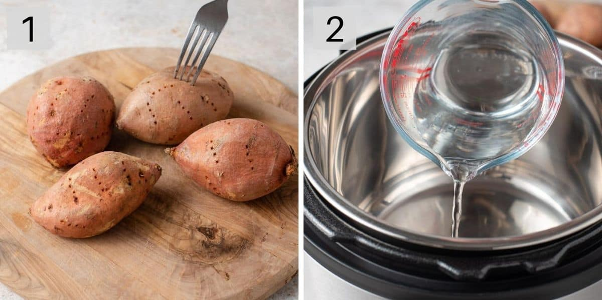 Two photos showing how to prepare sweet potatoes for cooking in the instant pot