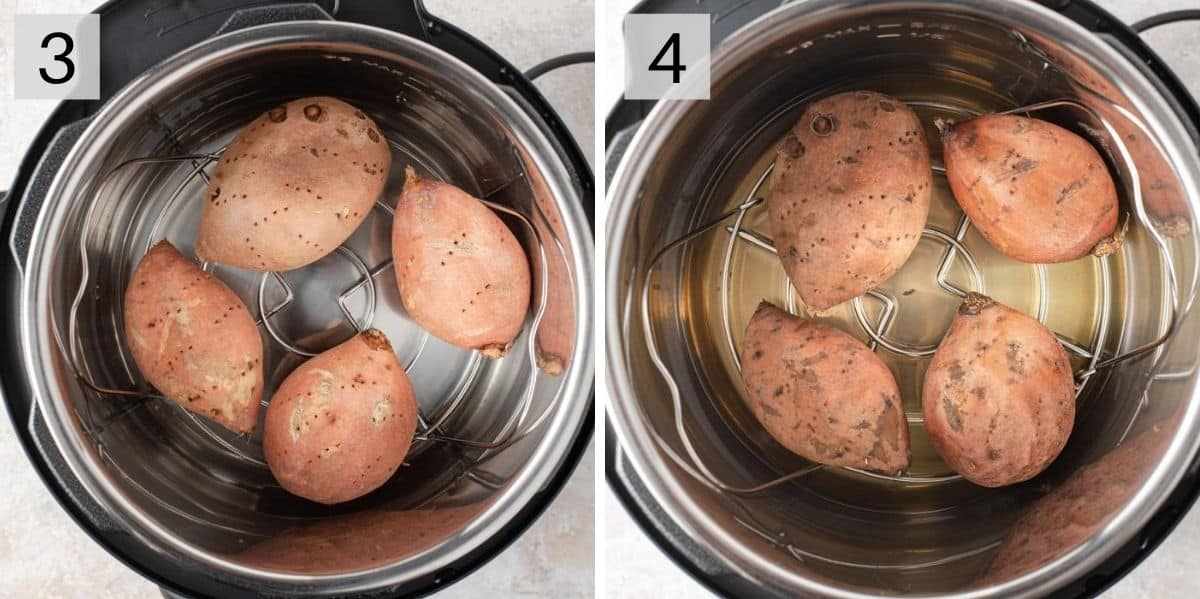 Two photos showing before and after cooking sweet potatoes in the Instant Pot