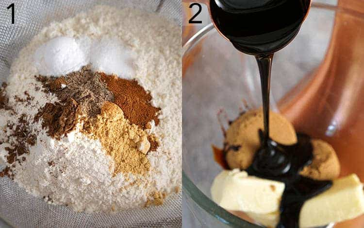 A sifter filled wiuth flour and spices next to a bowl of butter sugar and molasses