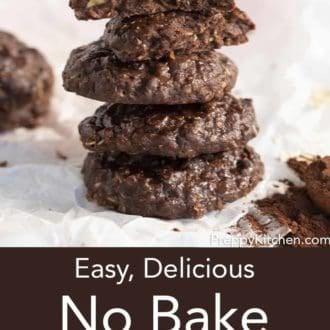 stack of no bake cookies