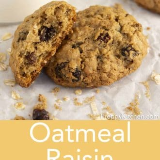 oatmeal raisin cookies on parchment paper