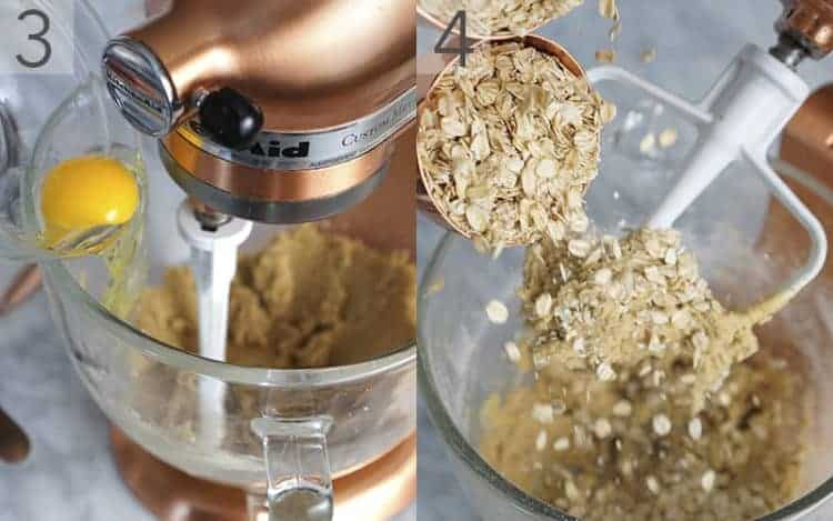 Two photos showing an egg being added to the butter mixture and oats going into the batter