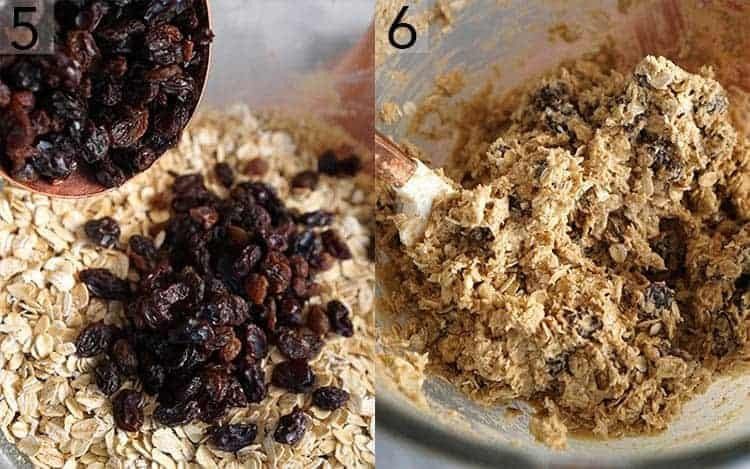 A photo collage showing oats and raising added to cookie dough and being mixed in.