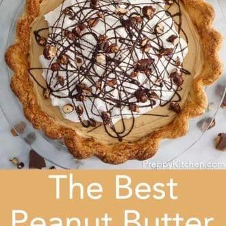 peanut butter pie in a glass pie dish