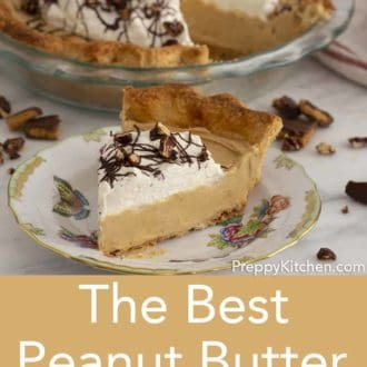 piece of peanut butter pie on a floral plate