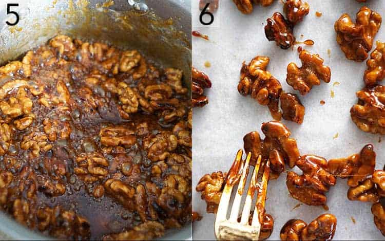 Candied walnuts getting separated on a sheet of parchment paper
