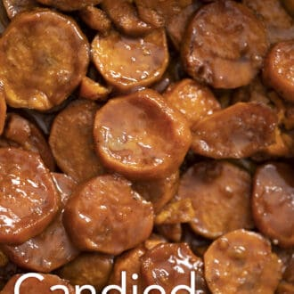 Candied Yams cut into round shapes.