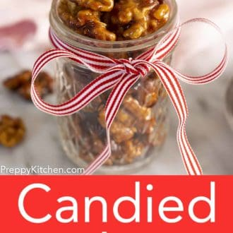 glass jar filled with candied walnuts