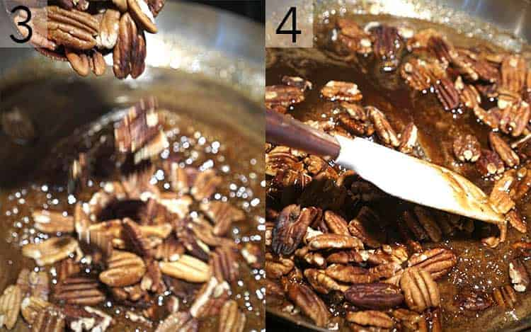 Pecans being mixed into caramel
