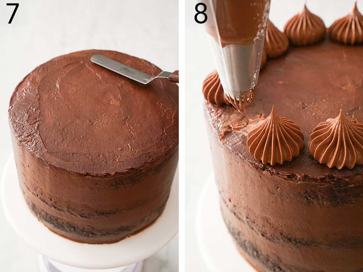 A chocolate zucchini cake getting topped with dollops of chocolate buttercream.