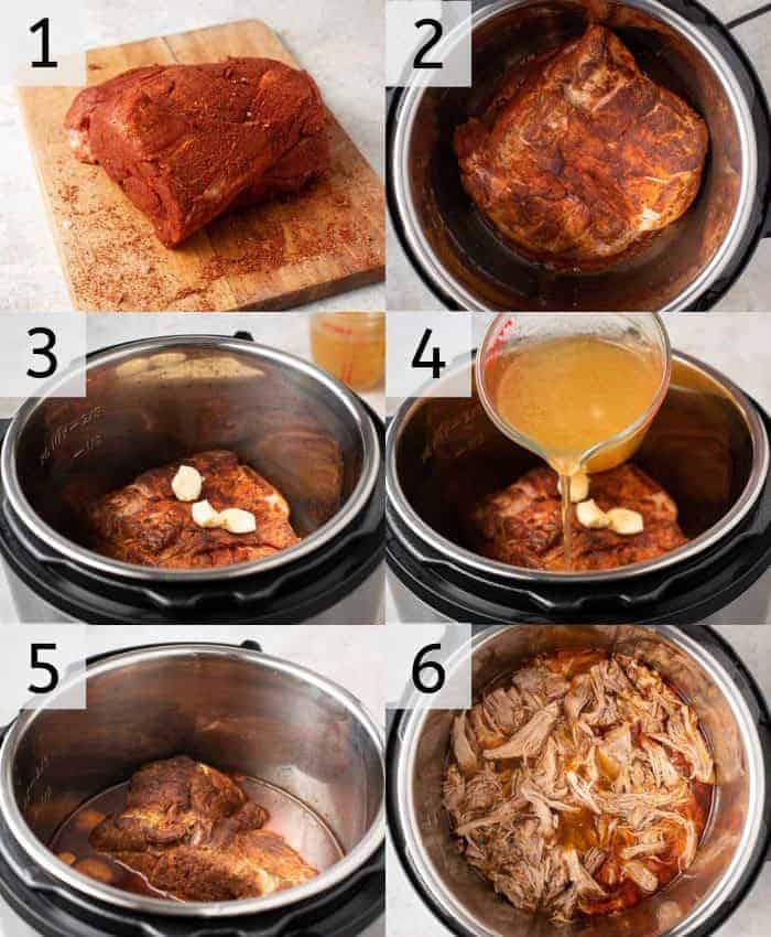 Step by step photos for making instant pot pulled pork