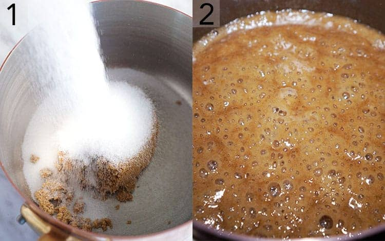Two photos showing the first steps to make peanut butter fudge