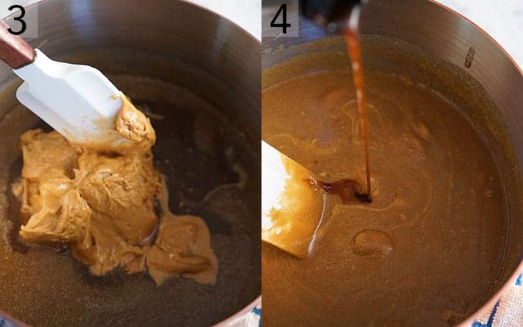 Peanut butter and vanilla getting added to a copper pot