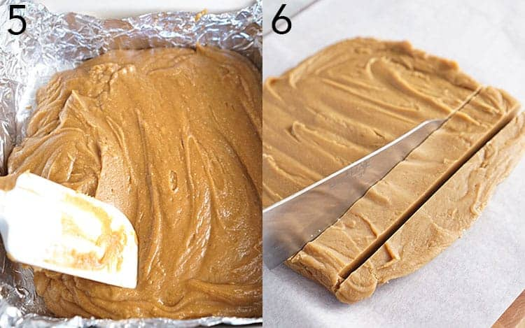 Peanut butter fudge getting spread into a dish and then cut