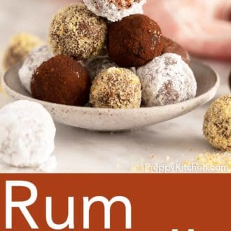 stack of rum balls in a bowl