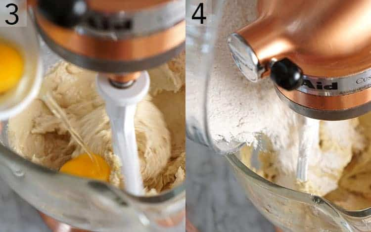 two photos showing eggs and flour being added to cookie dough