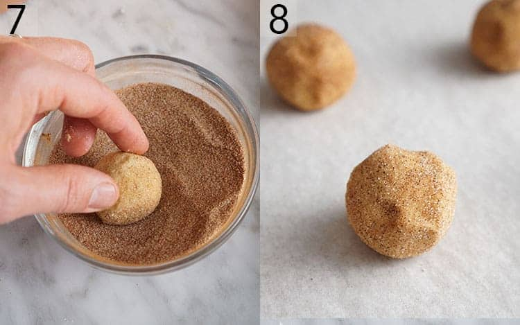 Balls of cookie dough getting rolled in cinnamon sugar
