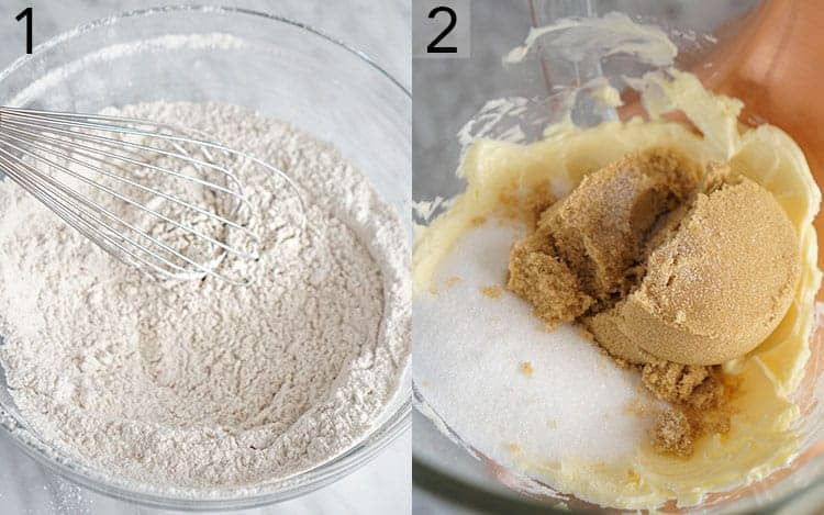 Two photos showing dry ingredients being whisked and sugars in a bowl with butter