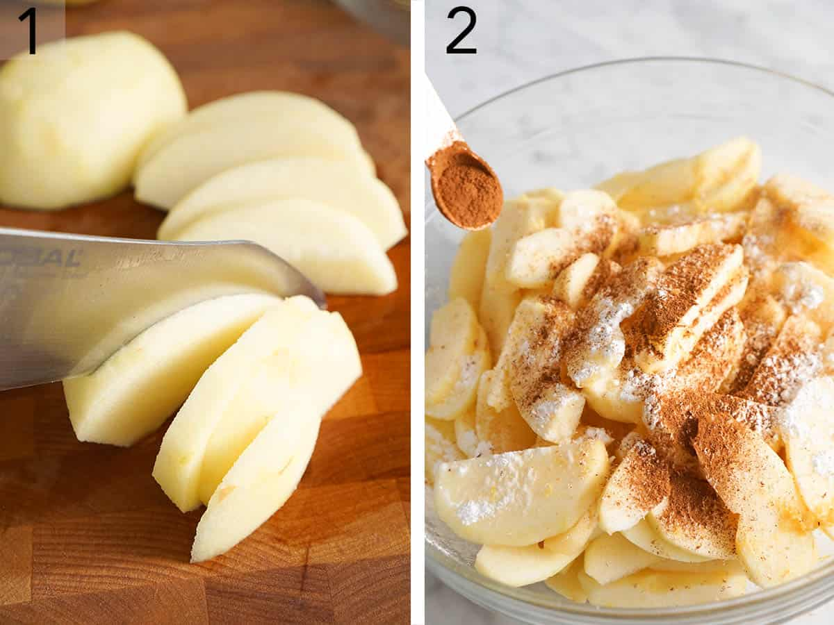Two photos showing apples getting sliced and then tossed with cinnamon and sugar.