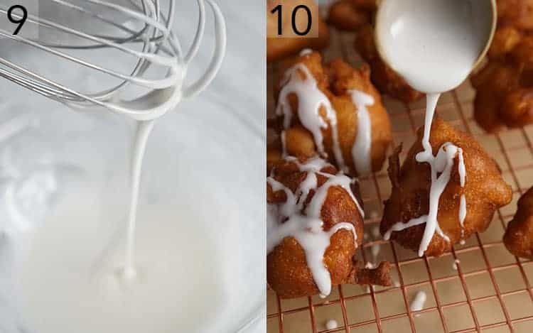 Glaze being mixed and drizzled onto apple fritters