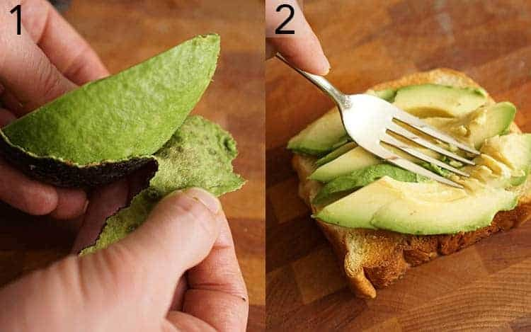 Two photos showing an avocado being peeled and mashed onto a piece of toast
