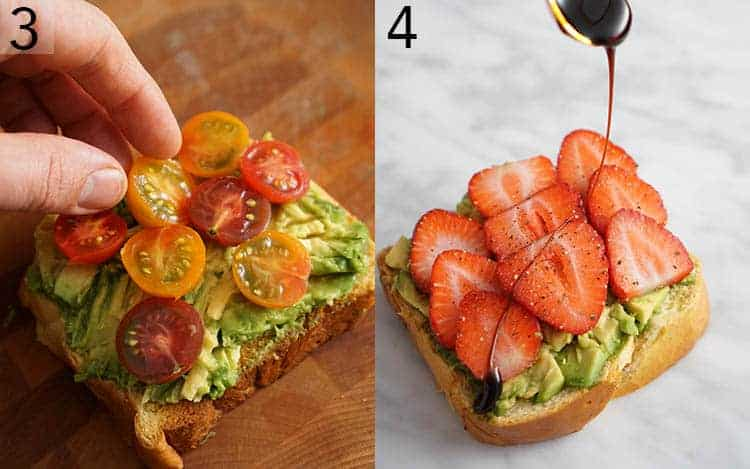 Two photos showing avocado toast getting topped with cherry tomato halves and strawberries