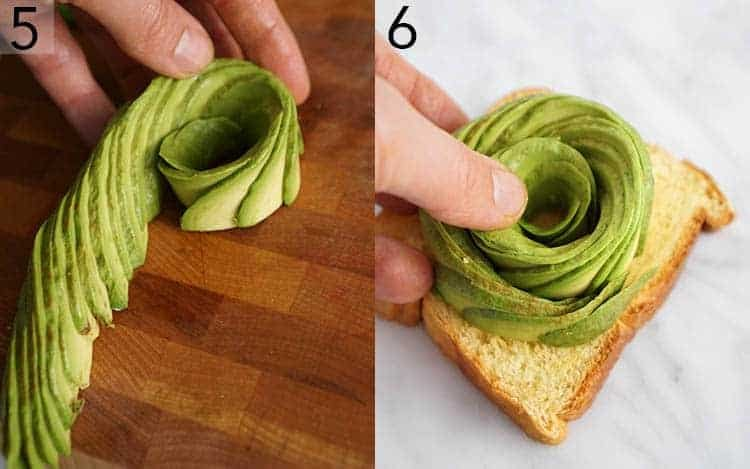 An avocado rose getting made for a piece of toast