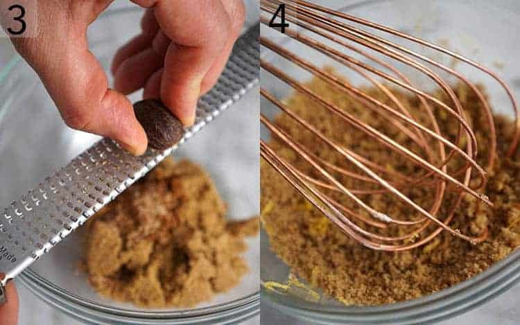 two photos showing nutmeg getting grater and brown sugar getting whisked