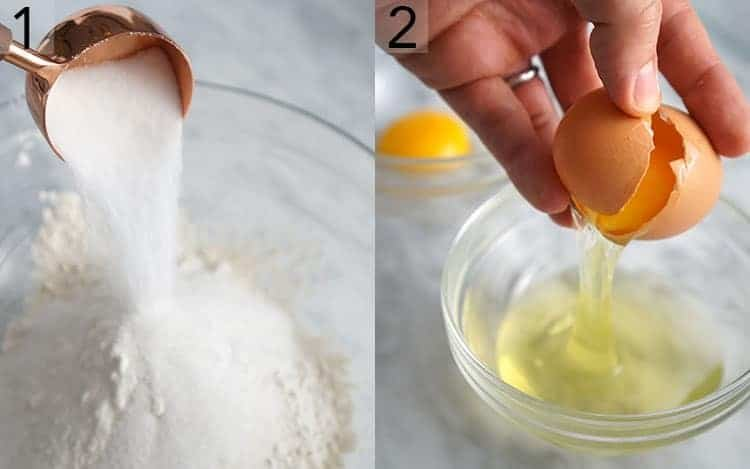 Two images showing dry ingredients going into a bowl and eggs getting separated