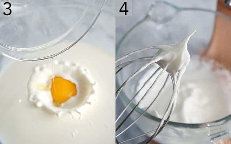 Two images showing egg yolks being added to a bowl of milk and egg whites being whipped
