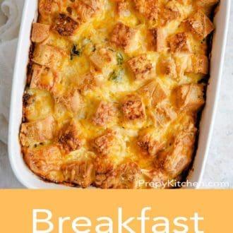 breakfast casserole in a serving dish