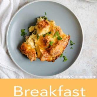 breakfast casserole on a gray plate