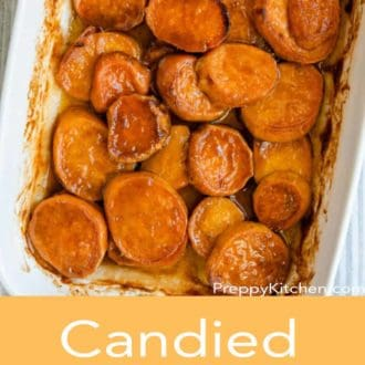 candied yams in a white casserole dish
