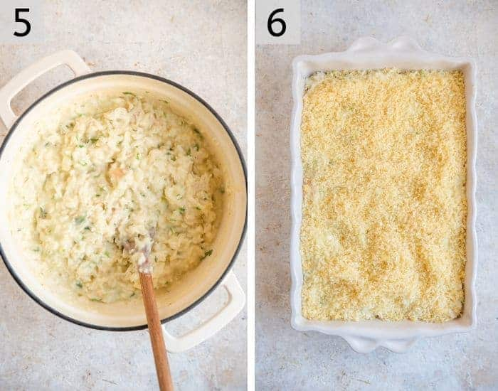 Two steps for making a chicken casserole and baking it